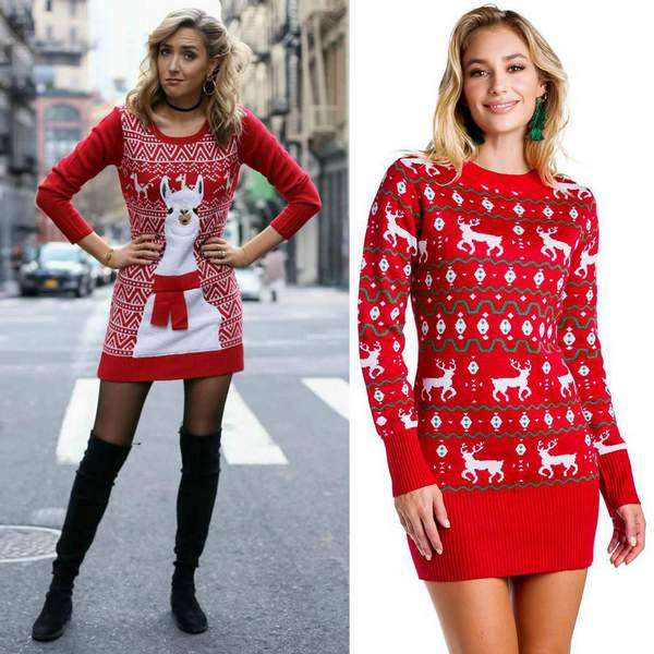 The Sleek Reindeer Christmas Sweater Dress