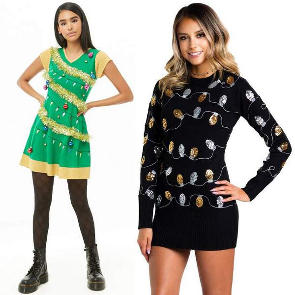 Christmas Lights Sweater Dress