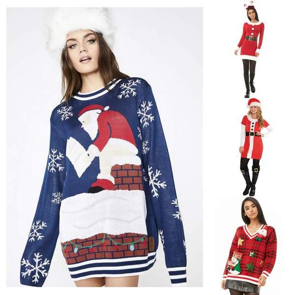 Santa Clause Christmas Sweater Dress