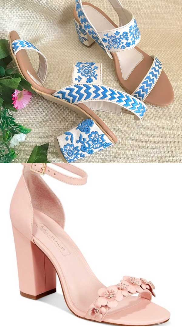 Embroidered Faux Leather and Michele Block Heel Floral Sandal