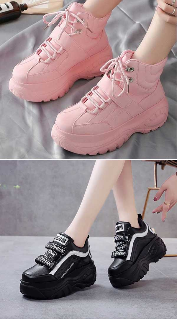 Pink and Black Chunky Sneakers