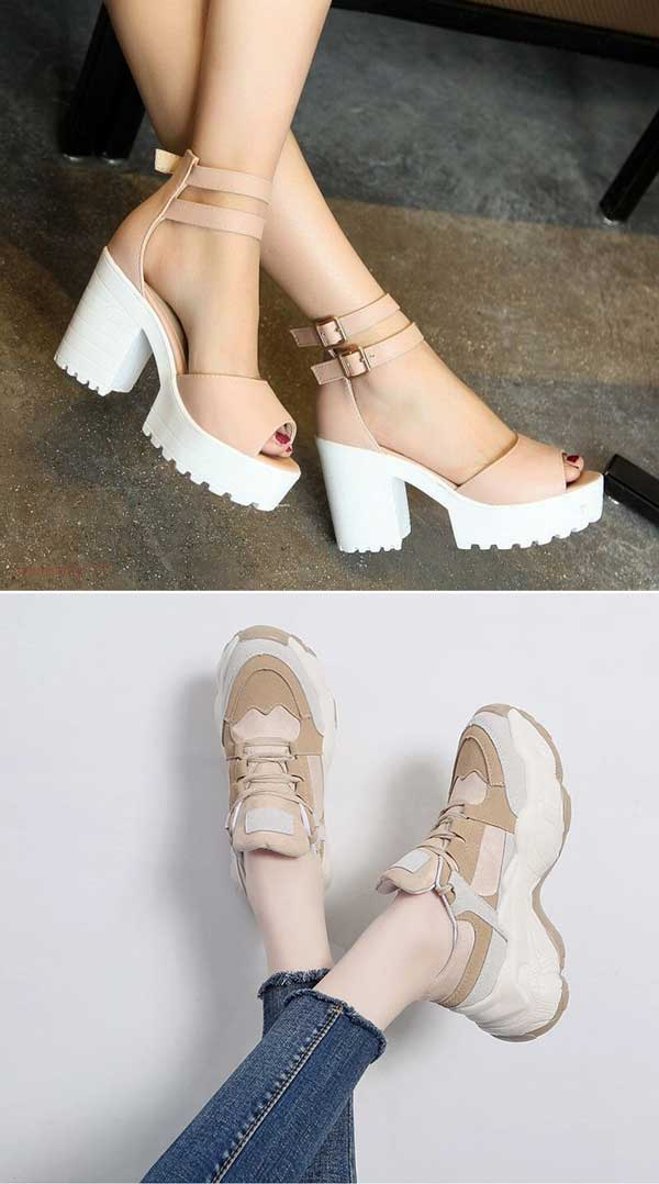 Women's Platform Breathable Casual Chunky Sneakers