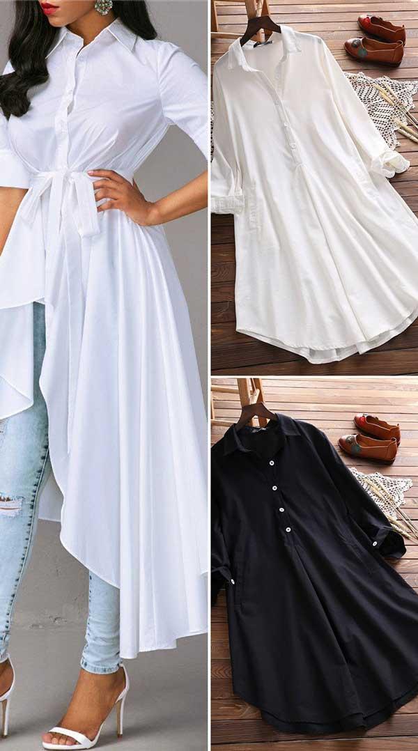 Vintage Lapel Pocket Shirt Dress