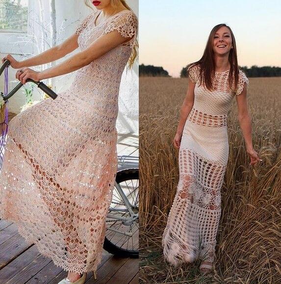 Crochet Dresses Beach Wedding Crochet Dresses,Knee Length Fall Wedding Guest Dresses With Sleeves