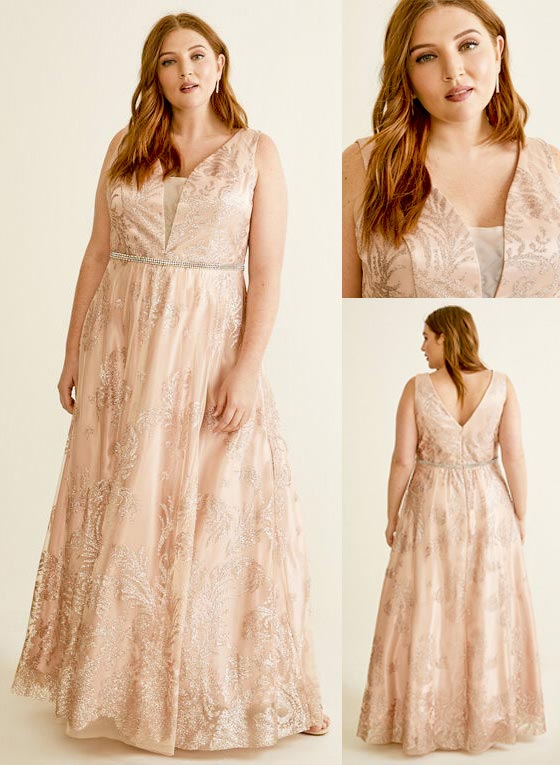 Laura Plus Size Cachet - Glitter Ball Gown Dress