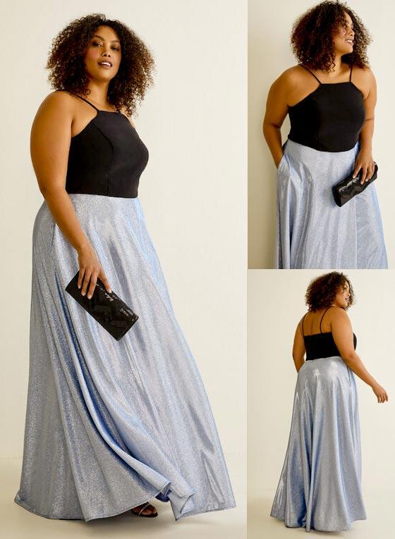 Laura Plus Size Jersey & Glitter Dress