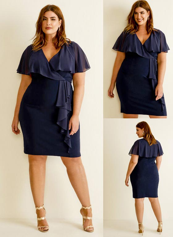 Laura Plus Size Joseph Ribkoff - Ruffle Sleeve Dress