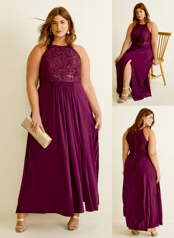 Laura Plus Size Lace & Sequin Bodice Dress