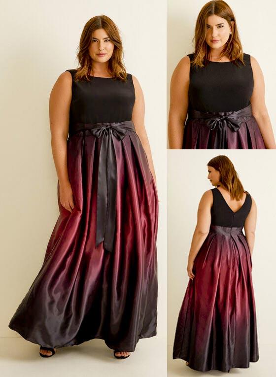 Laura Plus Size Ombré Satin Evening Dress