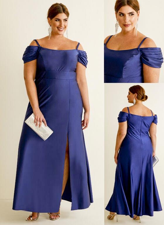 Laura Plus Size Satin Off-the-Shoulder Dress