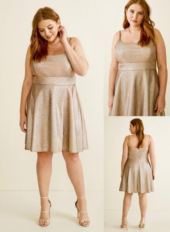 Laura Plus Size Sleeveless Metallic Dress